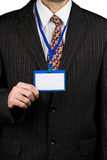 Businessman and badge Stock Photo
