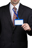 Businessman and badge Stock Image