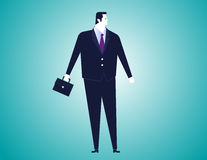 Businessman with bag  background. Concept business illustration Stock Photos