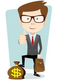 Businessman with a bag of currency, vector Royalty Free Stock Image