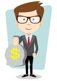 Businessman with a Bag of Gold Cash Dollar. Vector Stock Photography