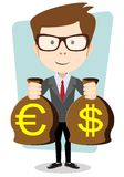 Businessman with a Bag of Gold Cash Dollar. Vector Royalty Free Stock Images