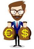 Businessman with a Bag of Gold Cash Dollar. Vector Stock Photos