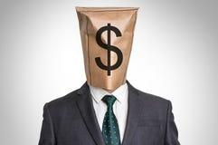 Businessman with a bag on the head - with dollar sign Stock Photos