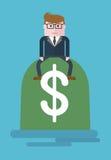 Businessman_on_bag_of_money Zdjęcia Stock