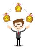 Businessman with bag of money, vector illustration Stock Photos