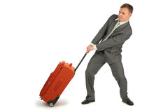 Businessman with baggage stock photography