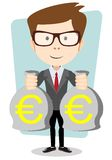 Businessman with bags full of euros, vector Royalty Free Stock Photo