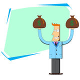 Businessman with bags of money and blank schedule behind Royalty Free Stock Images