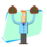 Businessman with bags of money. Vector illustration of a smiling businessman holding two bags of money Stock Images