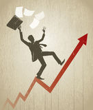 Businessman balance on line graph Royalty Free Stock Image