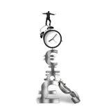 Businessman balancing on alarm clock and currency symbols Stock Photo