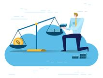 Businessman balancing Golden Bitcoins and US dollars in the scale. Electronic money exchange concept.  flat design elements. vector illustration Stock Photo