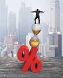 Businessman balancing on hourglass and red percentage sign Stock Images