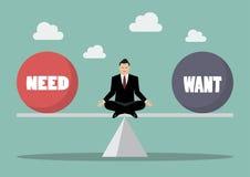 Businessman balancing between need and want Royalty Free Stock Image