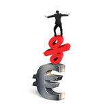 Businessman balancing on red percent symbol and euro sign Royalty Free Stock Images