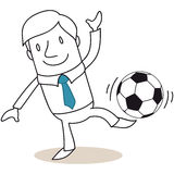 Businessman balancing soccer ball on his foot. Stock Images