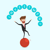 Businessman balancing on sphere and juggling investment finance. Financial and money management concept. Cartoon Vector Illustration Stock Photo