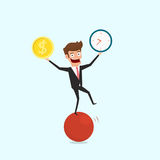 Businessman balancing on sphere juggling time and money. Financial money and time management concept. Cartoon Vector Illustration Royalty Free Stock Photos