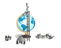 Businessman balancing stack money symbols on terrestrial globe Royalty Free Stock Photos