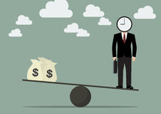Businessman balancing with time and money Royalty Free Stock Image