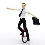 Businessman balancing on unicycle. Conceptual busi Stock Photo