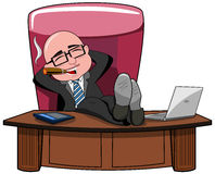 Businessman Bald Boss Legs Desk Smoking Isolated Stock Photo