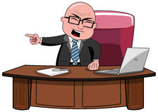Businessman Bald Cartoon Angry Boss Desk. Angry bald cartoon businessman boss standing at desk screaming and intimidating going out his office  white Stock Images