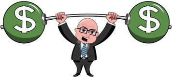 Businessman Bald Cartoon Lifting Weights Dollar  Royalty Free Stock Photography