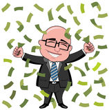 Businessman Bald Cartoon Money Rich  Royalty Free Stock Images