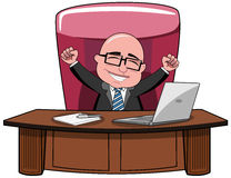 Businessman Bald Cartoon Success Boss Desk. Happy bald cartoon businessman boss sitting at desk and exulting  white Royalty Free Stock Photos
