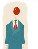 Businessman with balloon. Businessman standing with a red balloon for a head wearing a pin striped suit and a red tie standing in front of a tan background Stock Photo