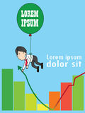 Businessman on a balloon giving hand to help the graph,. Funny vertical vector style Royalty Free Stock Image