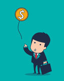 Businessman balloon. Vector cartoon businessman balloon money Stock Photography