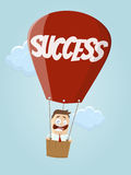 Businessman in balloon with word success. Funny businessman in balloon with word success Stock Photo