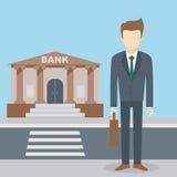 Businessman bank building Stock Photo