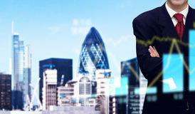 Businessman and bank office building Royalty Free Stock Image