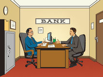 Businessman in bank pop art retro style vector vector illustration