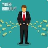 Businessman bankrupt illustration. Person bankrupt. Ruin vector illustration. Businessman has no money stock illustration