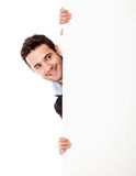Businessman with a banner ad Stock Photography