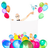 Businessman with banner, balloons and cocktail Royalty Free Stock Photo