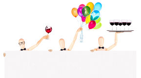 Businessman with banner, balloons and wine Royalty Free Stock Image