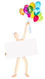 Businessman with banner and balloons Stock Image