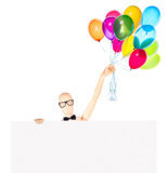 Businessman with banner and balloons Stock Photos