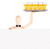 Businessman with banner and beer Royalty Free Stock Photo
