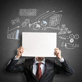 Businessman with banner Royalty Free Stock Photos
