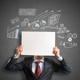 Businessman with banner Stock Photos