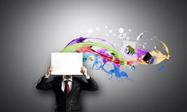 Businessman with banner Royalty Free Stock Images