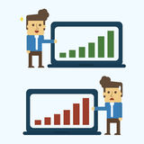 Businessman with bar chart gains and losses Royalty Free Stock Photography