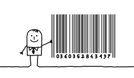 Businessman & bar code. Hand drawn cartoon character - businessman & bar code Stock Photo